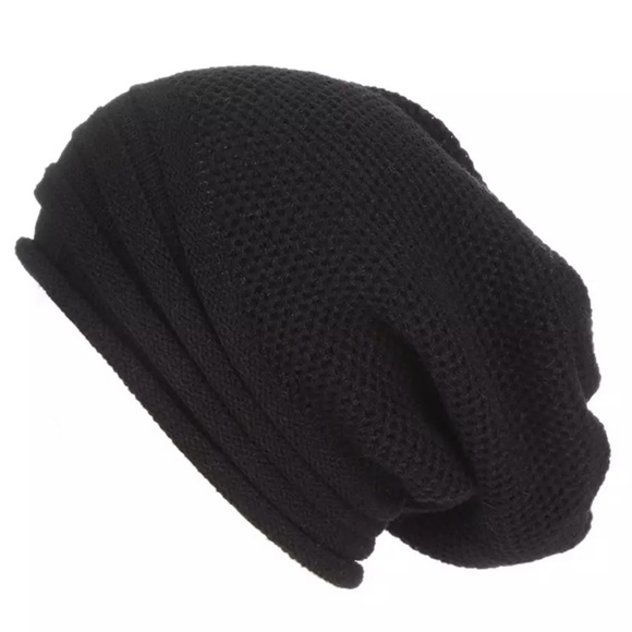 c7410eae9cb Black Skully Cap Wool Knit Beanie